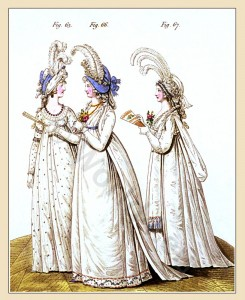 This fashion plate from 1795 shows English ladies in ball gowns. Note the abundance of fabric and the way the skirts are shaped, still with the 'poofiness' characteristic of the 18th century.